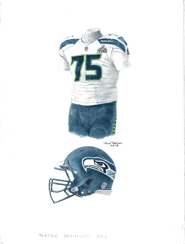 Seattle Seahawks 2013 - Heritage Sports Art - original watercolor artwork