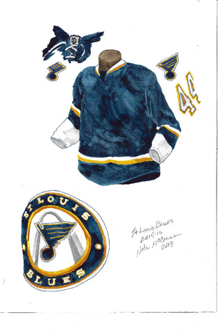 St. Louis Blues 2015-16 - Heritage Sports Art - original watercolor artwork