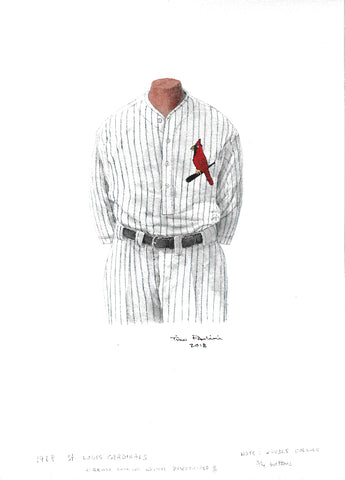 This is an original watercolor painting of the 1928 St. Louis Cardinals uniform.