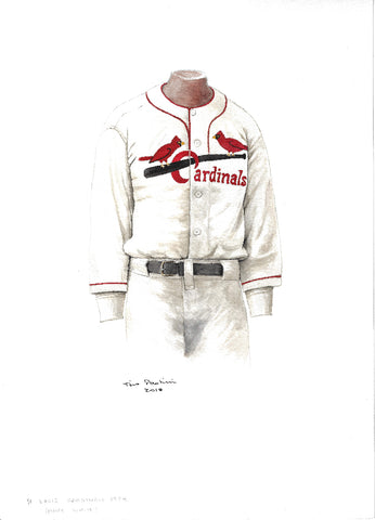 This is an original watercolor painting of the 1934 St. Louis Cardinals uniform.