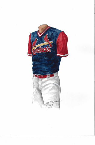 This is an original watercolor painting of the 2017 St. Louis Cardinals uniform.
