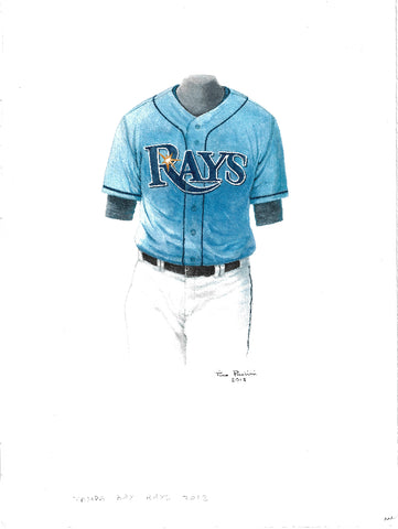 This is an original watercolor painting of the 2012 Tampa Bay Rays uniform.