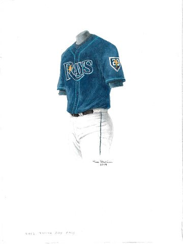 This is an original watercolor painting of the 2018 Tampa Bay Rays uniform.