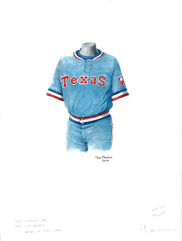 This is an original watercolor painting of the 1976 Texas Rangers uniform.