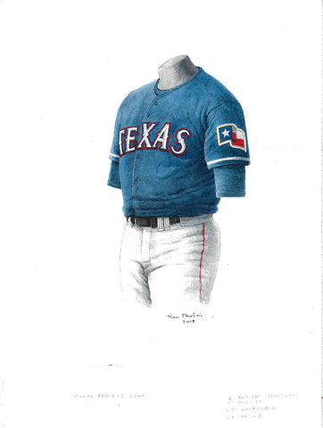 This is an original watercolor painting of the 2000 Texas Rangers uniform.