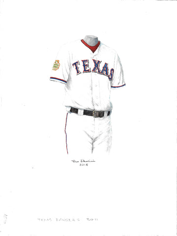 This is an original watercolor painting of the 2011 Texas Rangers uniform.