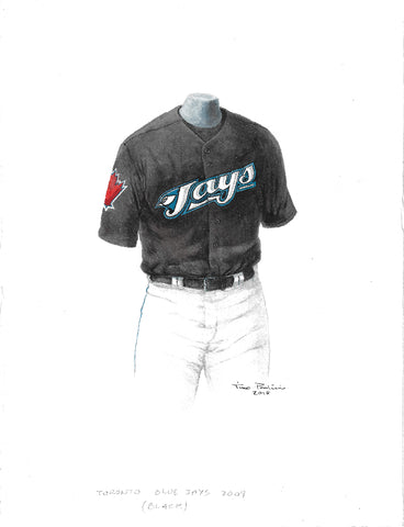 This is an original watercolor painting of the 2009 Toronto Blue Jays uniform.