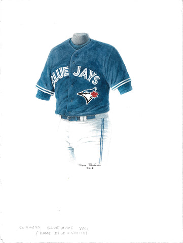 This is an original watercolor painting of the 2015 Toronto Blue Jays uniform.