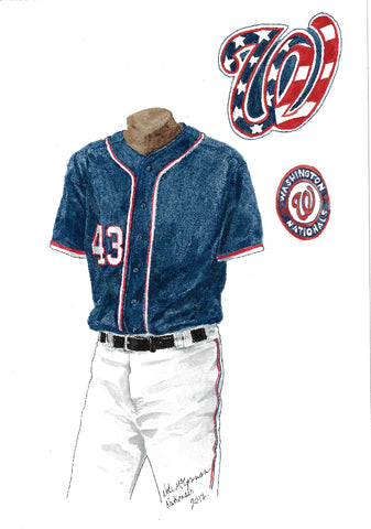 This is an original watercolor painting of the 2012 Washington Nationals uniform.