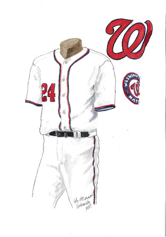 This is an original watercolor painting of the 2017 Washington Nationals uniform.