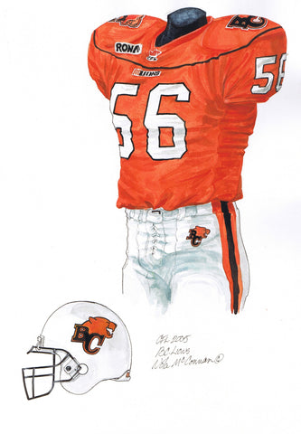 B.C. Lions 2005 - Heritage Sports Art - original watercolor artwork - 1