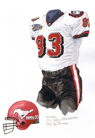 Calgary Stampeders 2001 - Heritage Sports Art - original watercolor artwork - 1