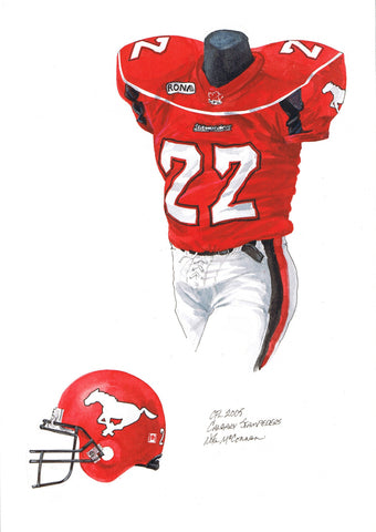 Calgary Stampeders 2005 - Heritage Sports Art - original watercolor artwork - 1