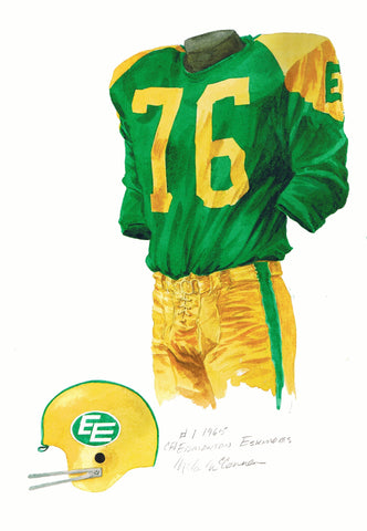 Edmonton Eskimos 1965 - Heritage Sports Art - original watercolor artwork - 1