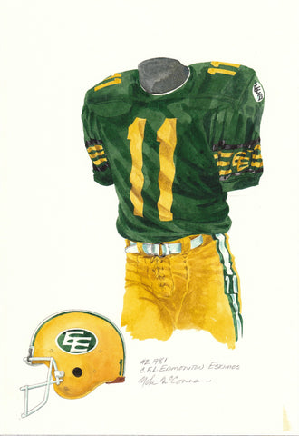 Edmonton Eskimos 1981 - Heritage Sports Art - original watercolor artwork - 1