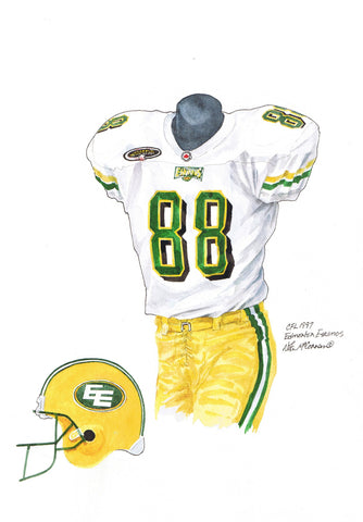 Edmonton Eskimos 1997 - Heritage Sports Art - original watercolor artwork - 1