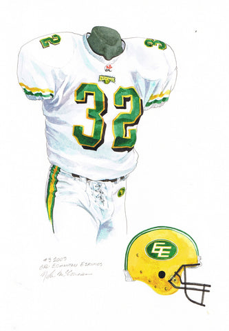 Edmonton Eskimos 2003 - Heritage Sports Art - original watercolor artwork - 1
