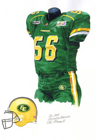 Edmonton Eskimos 2005 - Heritage Sports Art - original watercolor artwork - 1