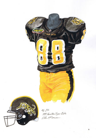 Hamilton Tiger-Cats 1999 - Heritage Sports Art - original watercolor artwork - 1