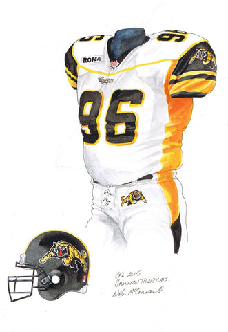 Hamilton Tiger-Cats 2005 - Heritage Sports Art - original watercolor artwork - 1