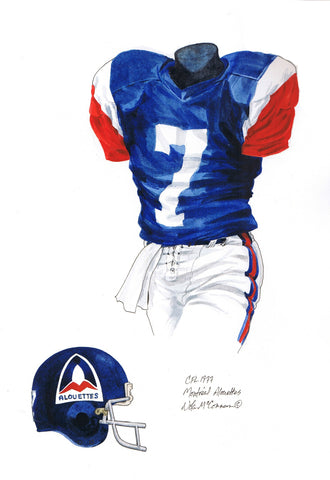 Montreal Alouettes 1977 - Heritage Sports Art - original watercolor artwork - 1