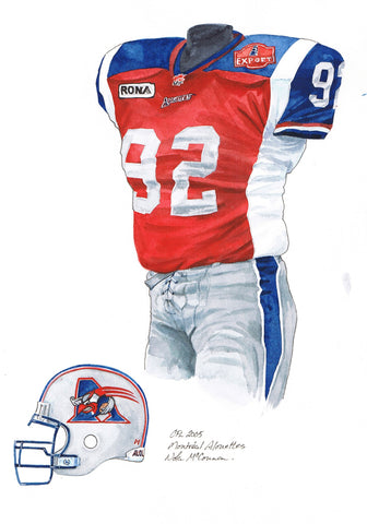 Montreal Alouettes 2005 - Heritage Sports Art - original watercolor artwork - 1