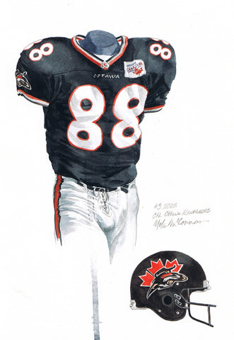 Ottawa Redblacks 2002 - Heritage Sports Art - original watercolor artwork - 1