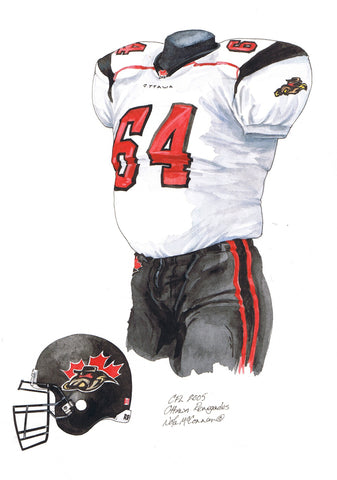 Ottawa Redblacks 2005 - Heritage Sports Art - original watercolor artwork - 1