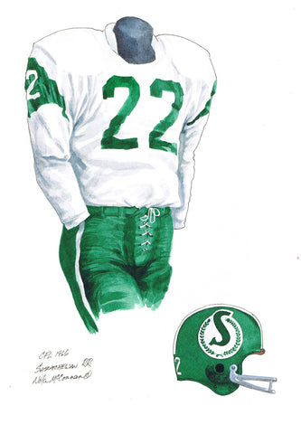 Saskatchewan Roughriders 1966 - Heritage Sports Art - original watercolor artwork - 1