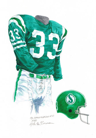 Saskatchewan Roughriders 1970 - Heritage Sports Art - original watercolor artwork - 1