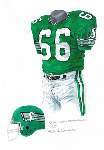 Saskatchewan Roughriders 1989 - Heritage Sports Art - original watercolor artwork - 1