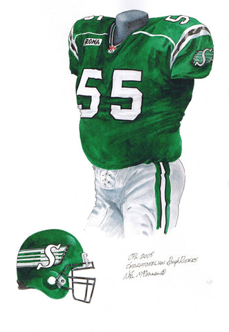 Saskatchewan Roughriders 2005 - Heritage Sports Art - original watercolor artwork - 1