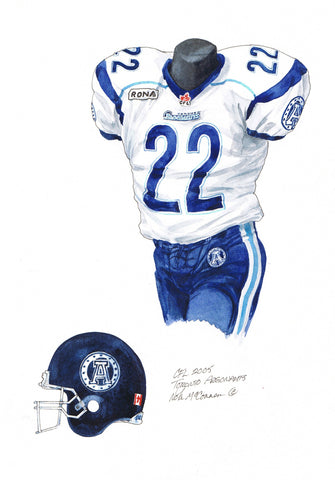 Toronto Argonauts 2005 - Heritage Sports Art - original watercolor artwork - 1