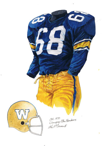 Winnipeg Blue Bombers 1970 - Heritage Sports Art - original watercolor artwork - 1