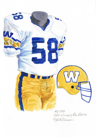 Winnipeg Blue Bombers 1984 - Heritage Sports Art - original watercolor artwork - 1