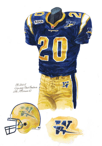 Winnipeg Blue Bombers 2005 - Heritage Sports Art - original watercolor artwork - 1