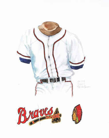 This is an original watercolor painting of the 1948 Atlanta Braves uniform.
