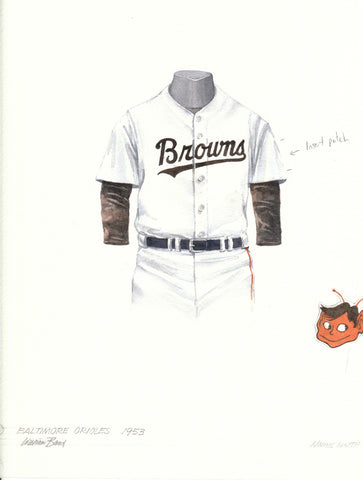 Baltimore Orioles 1953 - Heritage Sports Art - original watercolor artwork - 1