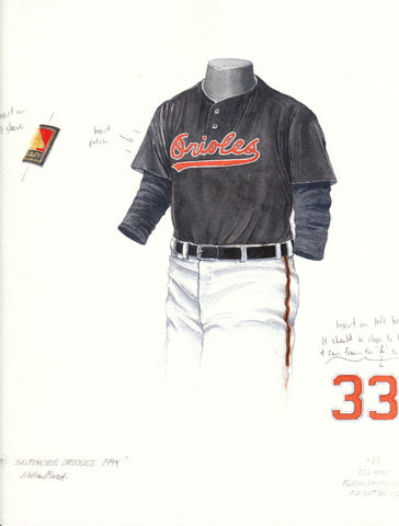 Baltimore Orioles 1994 - Heritage Sports Art - original watercolor artwork - 1