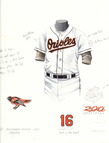 Baltimore Orioles 1997 - Heritage Sports Art - original watercolor artwork - 1