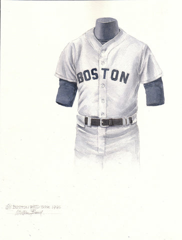 Boston Red Sox 1986 Grey - Heritage Sports Art - original watercolor artwork - 1