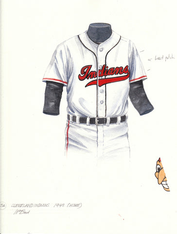 Cleveland Indians 1948 White - Heritage Sports Art - original watercolor artwork - 1