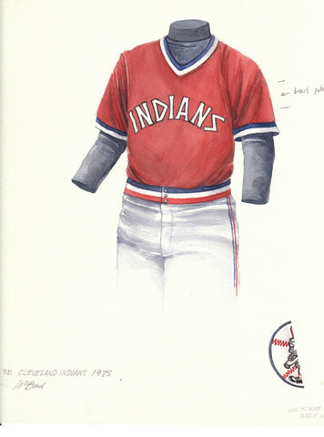 Cleveland Indians 1975 - Heritage Sports Art - original watercolor artwork - 1