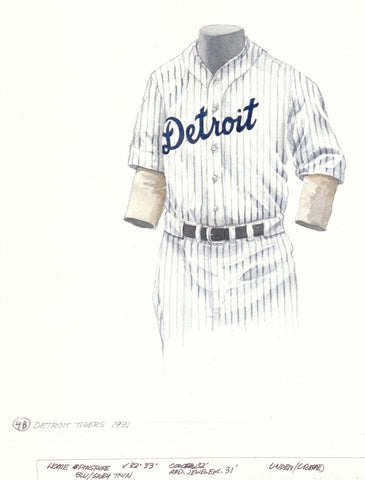 Detroit Tigers 1931 - Heritage Sports Art - original watercolor artwork - 1