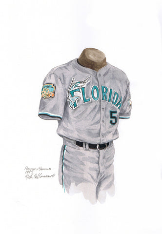 Miami Marlins 1997 - Heritage Sports Art - original watercolor artwork - 1