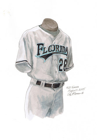 Miami Marlins 2005 - Heritage Sports Art - original watercolor artwork - 1
