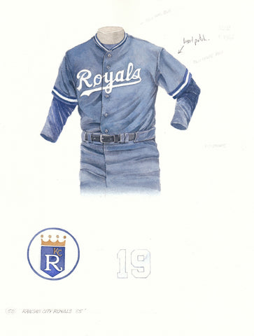 Kansas City Royals 1985 Blue - Heritage Sports Art - original watercolor artwork - 1