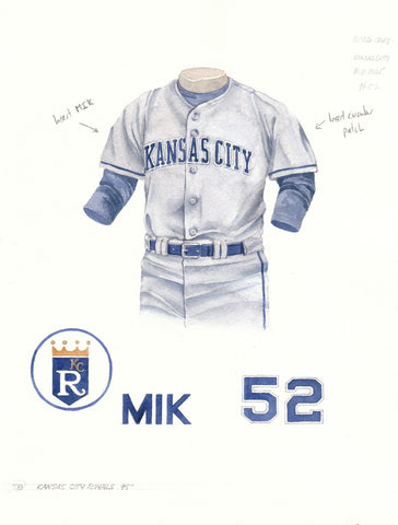 Kansas City Royals 1995 Grey - Heritage Sports Art - original watercolor artwork - 1