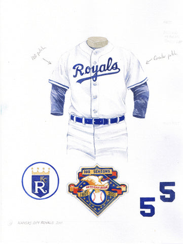 Kansas City Royals 2001 - Heritage Sports Art - original watercolor artwork - 1