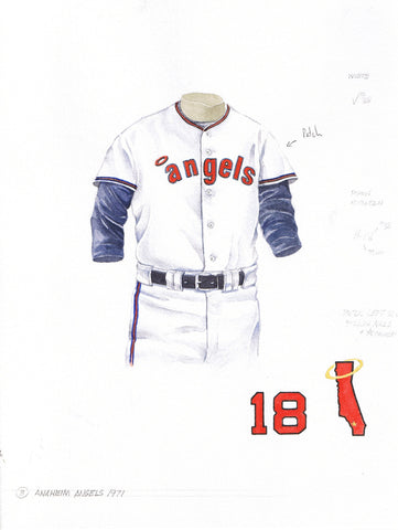 Los Angeles Angels of Anaheim 1971 - Heritage Sports Art - original watercolor artwork - 1